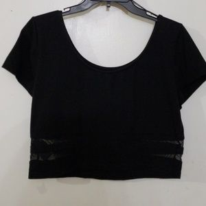 Crop top with mesh accents